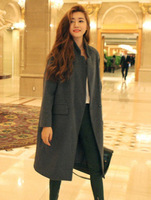 Fashion woolen 2013 stand collar ultra long paragraph elegant all-match loose overcoat outerwear woolen overcoat