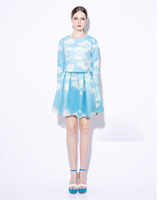 2013 autumn fashion magazine fresh elegant blue and white print long-sleeve T-shirt short skirt twinset