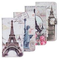 statue of liberty eiffel towel flower big ben London Paris New york PU leather wallet phone case for Samsung Galaxy S2 i9100