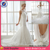 Sexy low back see through bodice mermaid fishtail wedding dress up games