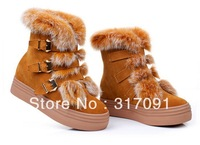 HOT SEELL Women Boots LADIES FLAT KNEE HIGH CALF QUILTED FUR LINED GIRLS WINTER SNOW BOOTS SIZE  Women Genuine Leather Shoes