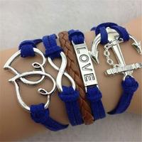 "SL31230 Trendy Casual multi-layer vintage wrap adjustable weave bracelet,,""BELIEVE"" & HEART & ANCHOR, 6pcs / lot & Free shiping"