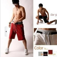 New Fashion Hot Sale Men's Boy's Casual Solid Loose Quick Dry Fabrics Polyester + Cotton Sports Beach Shorts,  Free Shipping