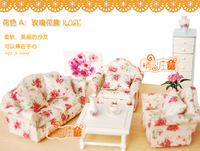Doll house mini furniture model sofa 4 florid