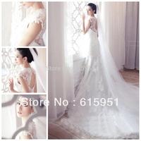 2014 Lace Dress Princess White Backless Appliques Wedding Dresses 2014 fashion Corset Wedding Dress With Train  HL008