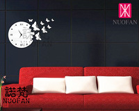 Wholesale Ikea Style Three-Dimensional DIY Butterfly Decoration Wall Sticker Mirror Wall Stickers Wall Clock