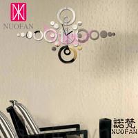 Wholesale Ikea Style DIY  Fashion Sofa Mirror Wall Stickers Clock Living Room Wall Clock Home Decoration