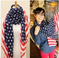 160x70cm women's USA stars stripes national flag shawl fashion elegant long chiffon scarves