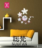 Wholesale Ikea Style Flower DIY decoration the mirror wall stickers mirror wall stickers wall clock
