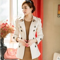 quality office lady fashion blazer short design turn-down collar double breasted slim polyester Trench coat J609