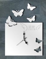 Wholesale Ikea Style 3D Crystal Three-Dimensional DIY Butterfly Living Room Wall Clock Mirror Wall Clock