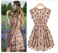 Hot sale New 2014 women fashion summer OL business wear ladies floral print chiffon pleated knee length casual elegant dress 322