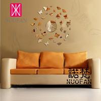 Wholesale Ikea Style Derlook Butterfly diy fashion clock decoration clock mirror wall clock living room wall clock
