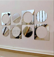 8pcs Wholesale Ikea Style TV Background Square & Round Wall Mirror Stereoscope Home Decoration Wall Art