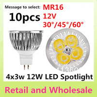 MR16-4LED-12W Free shipping 10pcs High Power Dimmable/Non-dimmable 12V LED Light  Bulb Lamp Warm/Pure/Cool White