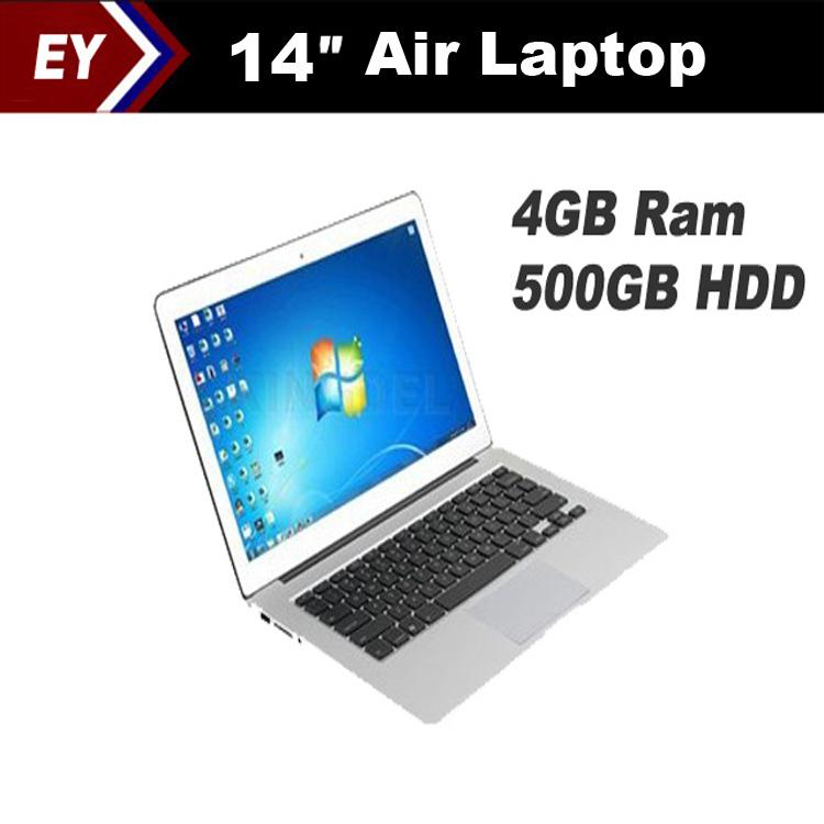 """High copy air laptop 14"""" 4GB Ram 500GB HDD D2500 1.86GHZ CPU,ultra slim laptop Multi language Windows 7 OS/Keyboard laptop(China (Mainland))"""