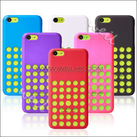 50PC/ LOT Circle Hollow Fashion Dots Cover For iphone 5C Phone Soft Colorful TPU Silicone Back Bags Case For Apple iphone5C