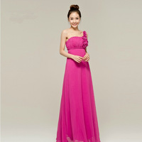 fashion 2014 red long pregnant women sexy evening party gown flower decorated one-shoulder rose color long banquet dress