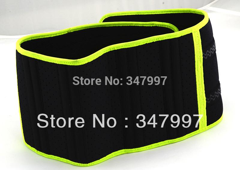 Free Shipping 5 pcs Velcro Fastener Adjustable Green Edge Waist Support Wrap Brace Protector,Waist Protection Belt #HW194(China (Mainland))