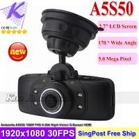 Ambarella A5S50 BL500 Dash Cam Video Recorder Car DVR 2.7inch LCD 170 Degree Wide Angle With IR Night Vision + G-sensor HDMI