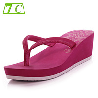 7c flip flops female sandals sand mesh summer wedges sandals slip-resistant high-heeled slippers zw130419