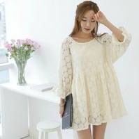 2013 autumn cute long-sleeve lace high waist one-piece dress