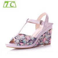 7c sandals female cotton prints dapperly fashion slip-resistant fashion wedges female sandals zw120602