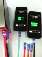 10pcs Free shipping Luminous smile 2.0 USB date cable for  iphone5s1m 3FT mini micro usb cable colorful