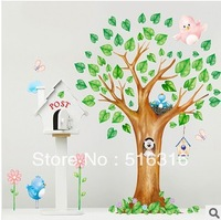 2013 Hot Sale Third Generation Large Green Lovely Cartoon Tree 60*90cm Transparent Room Decoration Wall Sticker FREE SHIPPING