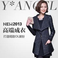2013 women's slim patchwork outerwear large lapel wool coat female i05