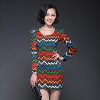 High quality 2013 fancy stripe medium-long basic sweater female slim 6616