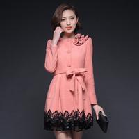 High quality lace patchwork three-dimensional flowers decoration waist slim medium-long wool coat outerwear female k58