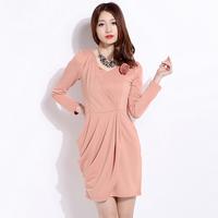 2013 winter women's formal slim waist pumping one-piece dress corsage long-sleeve skirt l508