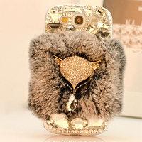 3D new luxury rhinestone bling For Samsung galaxy Note3 Note2 S5 S4 S3 i9600 i9500 i9300 N9000 diamond rabbit hair fox Case