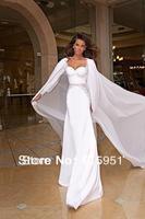 2014 New Arrival Wonderful Sweetheart Long Sleeves Open Back White Chiffon Mermaid Wedding Dress 2014 New Arrival HL013