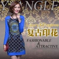 Autumn new arrival fashion patchwork print blue one-piece dress long-sleeve all-match skirt w12