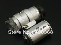 freeshipping DHL 60pcs/lot 45X 2 LED Mini Pocket Microscope Magnifier Jeweler Loupe with battery