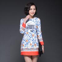 High quality women's slim blue and white porcelain print one-piece dress high quality skirt 8861
