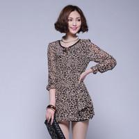 2013 spring and summer leopard print one-piece dress half sleeve women's all-match skirt z56