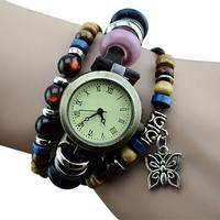 Women Vintage Roman Numeral Round Dials pu Leather Bracelet Quartz Wrist Watch