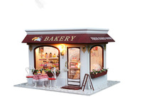 Free Shipping! Kids 3D Assembling DIY Wooden Doll House, Provence Cake store Big Size House Toy With Furnitures