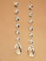 "30Pcs/Lot,  6.5"" Long Garland= 6 Beads+1 Almond Pendant, Free Shipping, Wedding Glass Crystal Strand, Chandelier Parts"