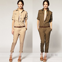 2013 hot sale long-sleeved clothes conjoined thin autumn wear women's clothing jumpsuits