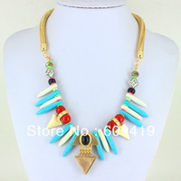 fashion accessories 2014 chunky gold necklace folk style natural stone necklaces & pendants For Women LM-SC610