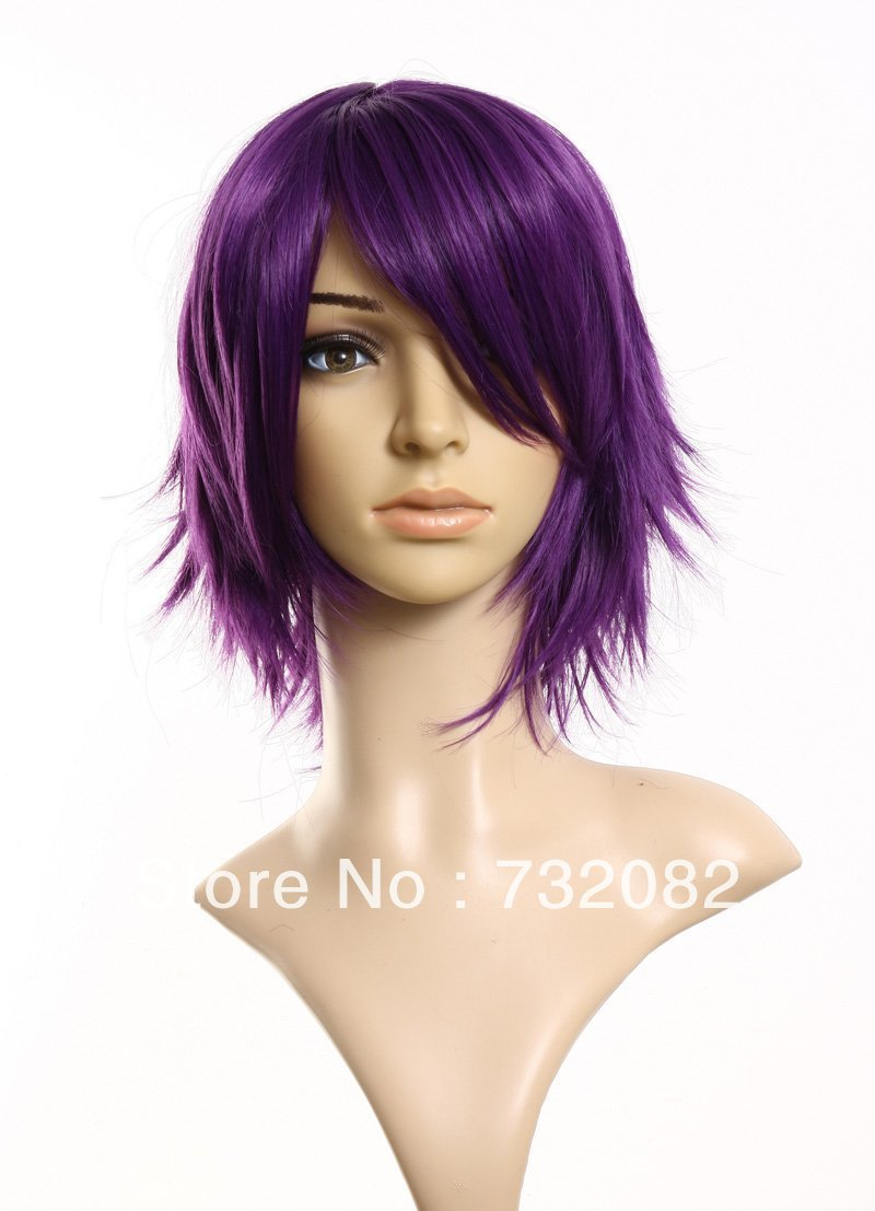 hot sale 40CM Puple women anime Cosplay short Wig synthetic hair wig E3235-purple(China (Mainland))