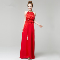 2014 new arrival Chinese style sexy Halter corset type evening gown China red paper-cut novelty design long evening dress