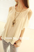 2013 Summer Women Ladies Sexy vintage crochet lace pleated chiffon shirt lotus leaf sleeve Off-shoulder tops Blouses A0048