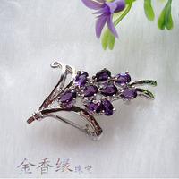 925 silver platinum natural amethyst brooch Women female