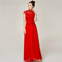 Hot selling winter red party dresses lace Long Slim evening dress flowers decorated evening gown