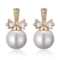 free shipping Stud earring female fashion bow crystal shell pearl earrings elegant accessories